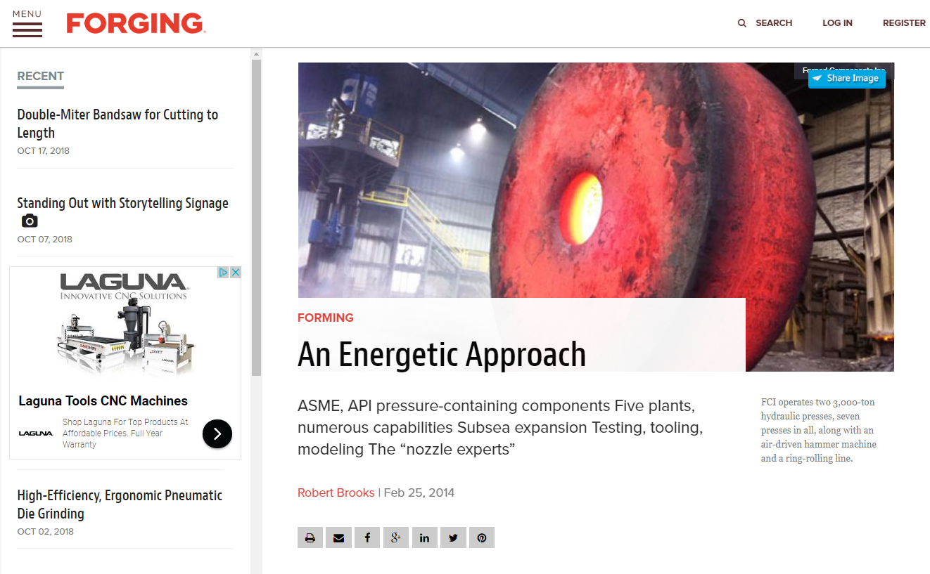 FCI, one of the world's leading forged flange suppliers, profile in Forging Magazine