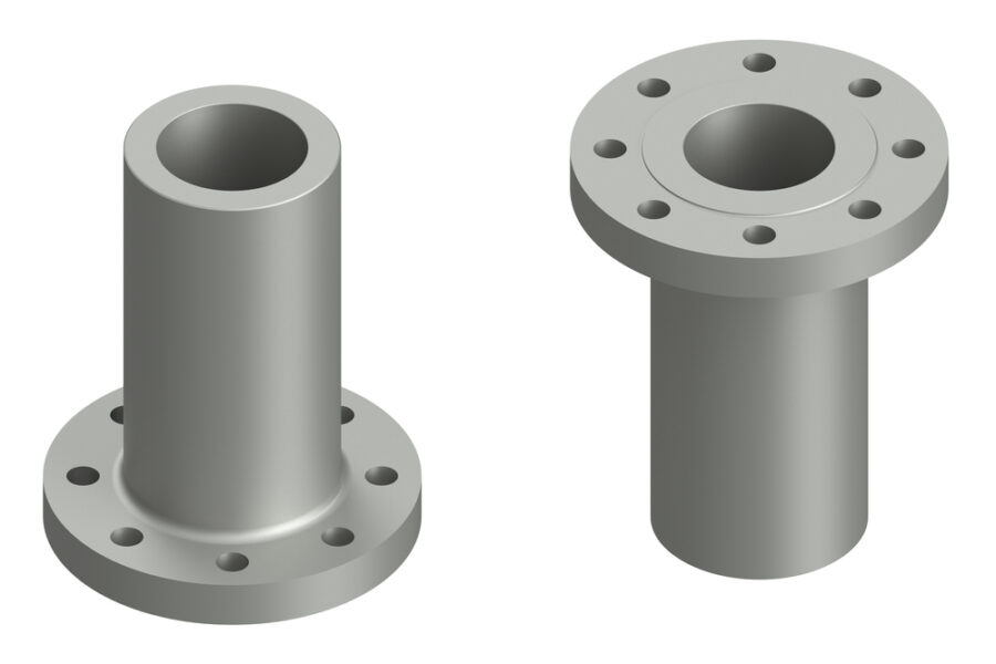 A diagram of long weld neck flanges